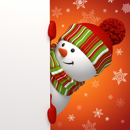 cute christmas: snowman banner Stock Photo