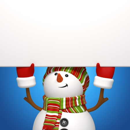 snowman holding banner Stock Photo - 16184403