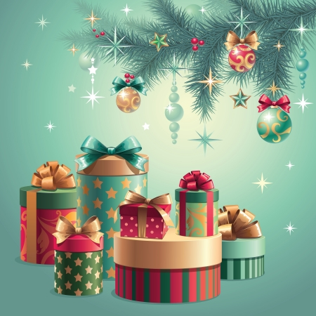 christmas tree decoration gifts Vector