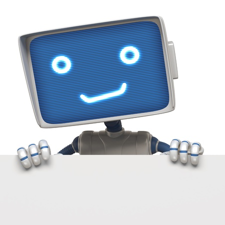knurled: robot holding banner Stock Photo