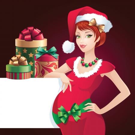 helpers: Navidad embarazada hermosa ayudante de Santa