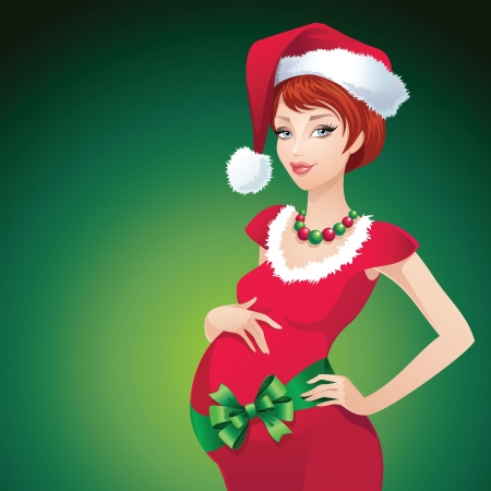 Christmas pregnant Santa beauty Vector