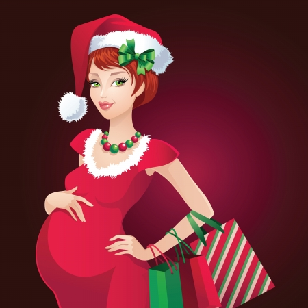 sexy christmas elf: Natale Babbo incinta Bellezza Shopping Vettoriali