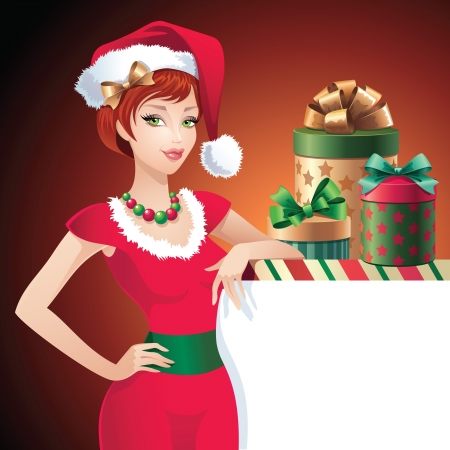 elf hat: Christmas Santa beauty message banner Illustration