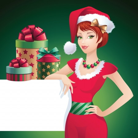 Christmas glamorous Santa beauty label Vector