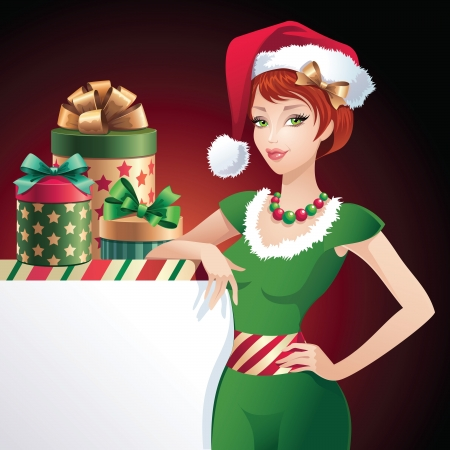 sexy xmas elf: Christmas glamorous Santa beauty banner