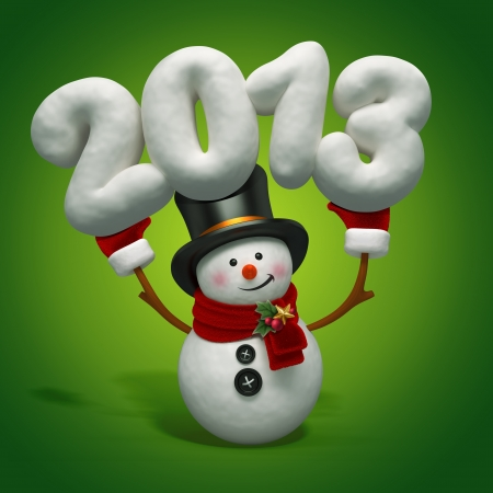 snowman holding year number photo