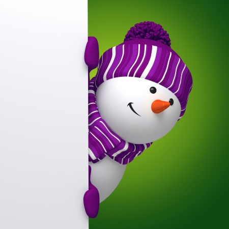 snowman 3d: snowman message banner Stock Photo