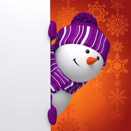 snowman 3d: Christmas snowman greeting banner Stock Photo