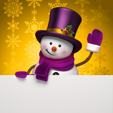 new year snowman greeting photo