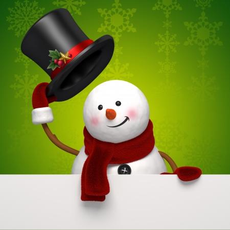 bye: christmas snowman greeting