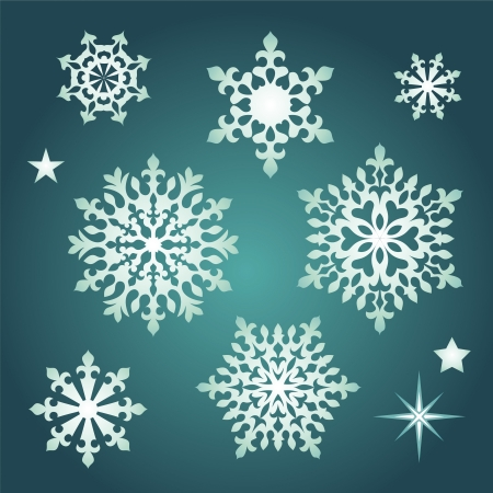 christmas assorted snowflakes collection Vector