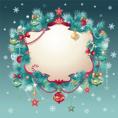 vintage christmas greeting card banner Stock Vector - 16624935