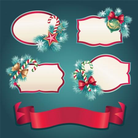 title emotions: vintage christmas label banner set Illustration