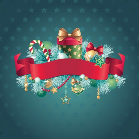 christmas ribbon banner label tag Vector