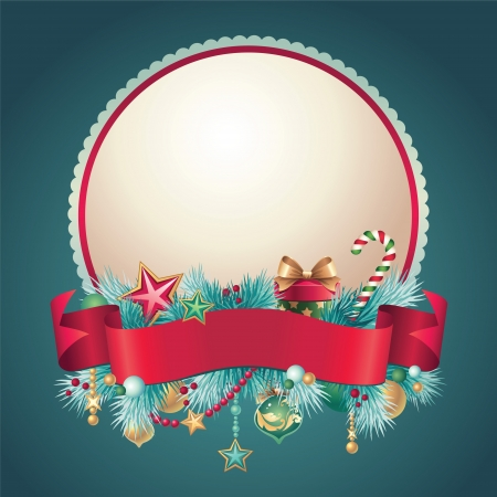 Christmas vintage greeting bnner badge Vector