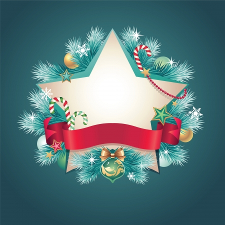 christmas vintage ribbon banner star shape Stock Vector - 16624930