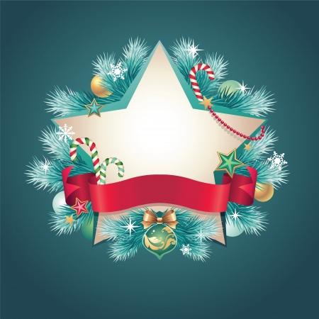 christmas vintage ribbon banner star shape Stock Vector - 16624930
