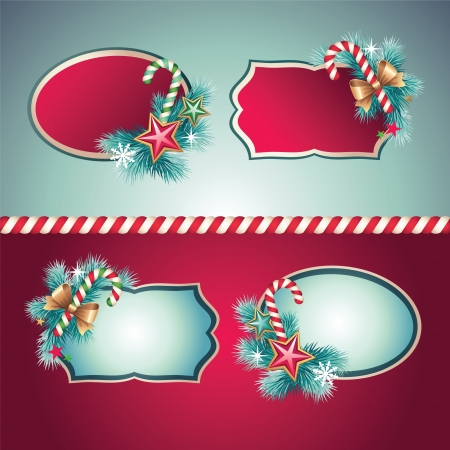 christmas vintage decorative label banner set Vector