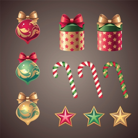 vintage Christmas ornament design elements Vector