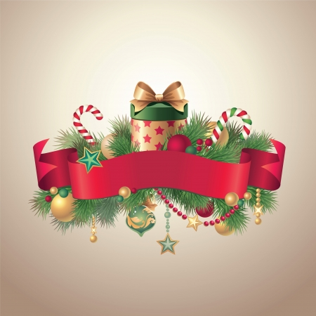 christmas ribbon tag banner Stock Vector - 16624929