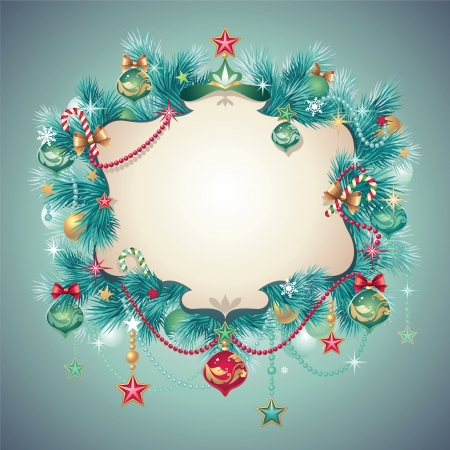ornate christmas greeting banner card Stock Vector - 16624934