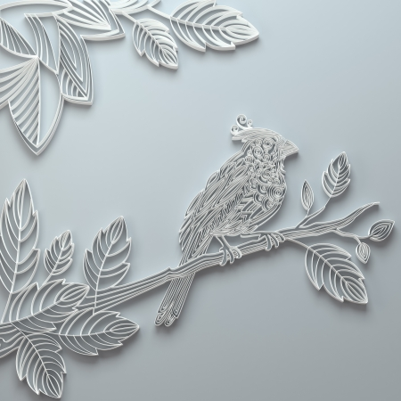 White decorative ornate paper quilling bird background photo