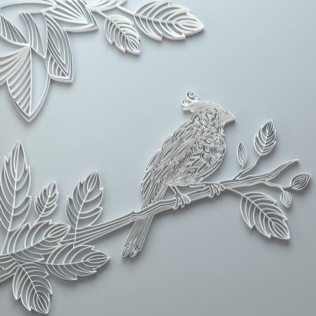 White decorative ornate paper quilling bird background