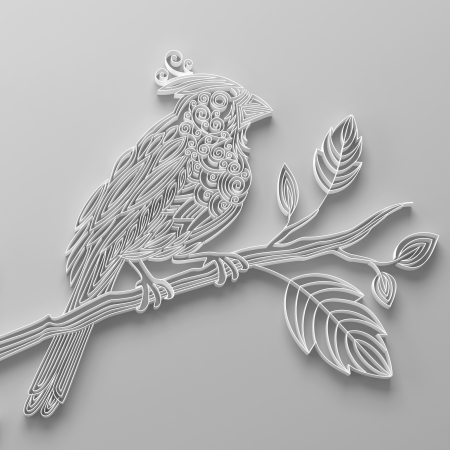 White filigree quilling paper bird photo