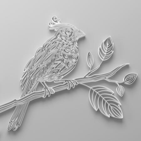 White filigree quilling paper bird