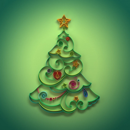 paper quilling Christmas tree decoration greeting Stock Photo