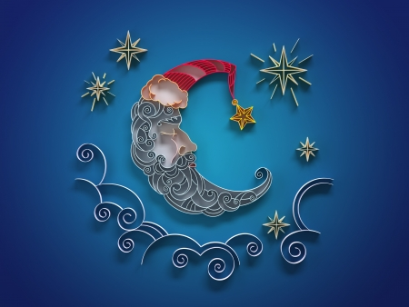 star and crescent: paper quilling sleeping moon crescent decorative illustration