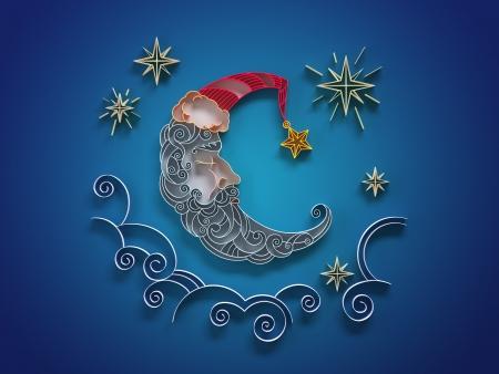 paper quilling sleeping moon crescent decorative illustration