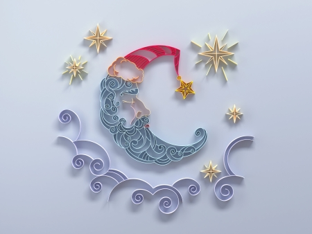 sleeping moon crescent quilling paper design photo