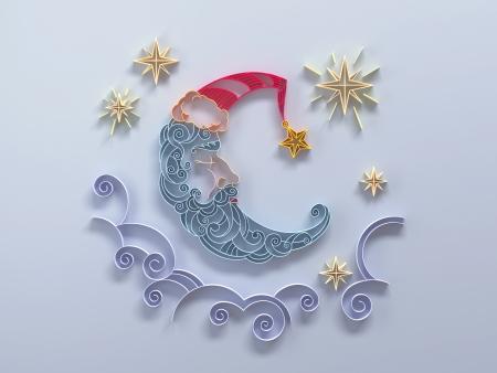 sleeping moon crescent quilling paper design Stock Photo - 16724595