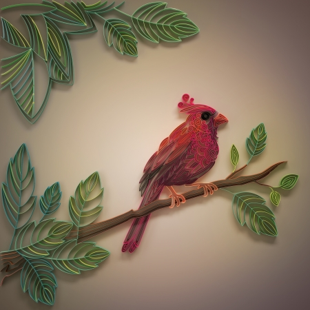 quilled shapes: decorative ornate filigree red cardinal bird design