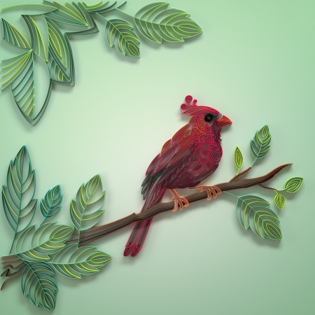quilled shapes: decorative ornate filigree red cardinal bird background Stock Photo