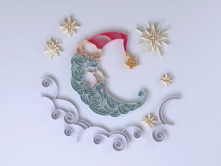sleeping crescent moon quilling paper design