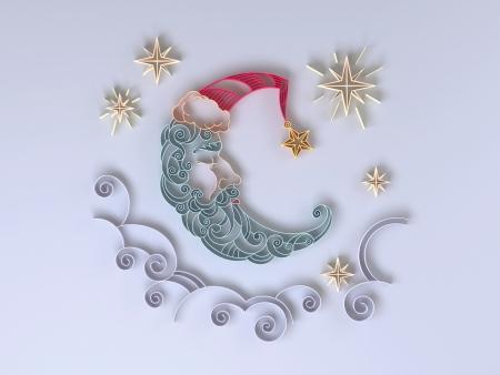 sleeping crescent moon quilling paper design