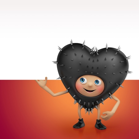 happy Valentine black heart cartoon character holding banner Stock Photo - 16974873