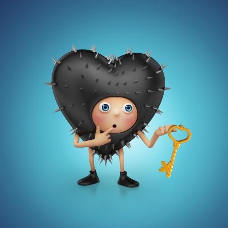 Funny prickly Valentine heart cartoon holding key Stock Photo - 16974874