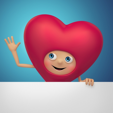 Funny happy Valentine heart cartoon holding banner photo