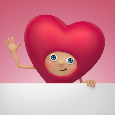 cute funny Valentine heart cartoon holding banner Stock Photo - 16974885
