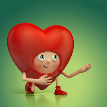 Funny Valentine heart cartoon roposal Stock Photo - 16974883