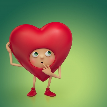 Funny Valentine heart cartoon thinking Stock Photo - 16974870