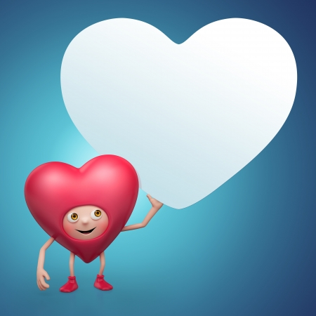 Cute Valentine heart cartoon holding message banner photo