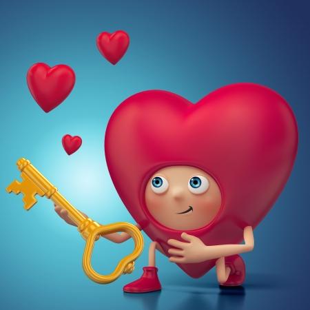 Funny Valentine heart cartoon proposal Stock Photo - 16974888