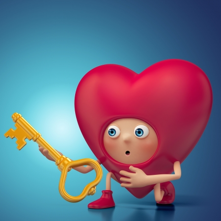 Funny Valentine heart cartoon holding key Stock Photo - 16974887