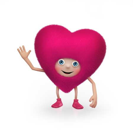 Funny happy fluffy pink Valentine heart character   Valentine s Day greeting    Stock Photo - 16974875