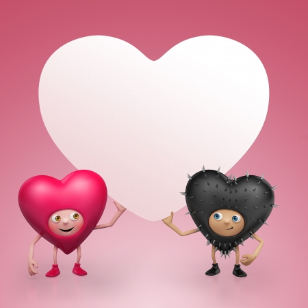 Two Funny Valentine heart cartoons holding banner Stock Photo - 16983751